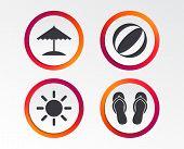 Beach Holidays Icons. Ball, Umbrella And Flip-flops Sandals Signs. Summer Sun Symbol. Infographic De poster