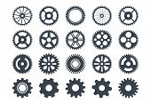 Cogwheel Machine Gear Icon, Set Of Gear Wheels. Vector Illustration, Isolated. poster