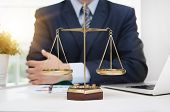 Justice Symbol Weigh Scales On Table poster