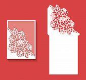 Laser Cut Envelope Template For Invitation Wedding Card2.eps poster