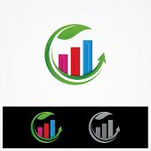 Colorful Data Tools Finance Diagram And Graphic On The Round Leaf. Chart And Graphic, Business Diagr poster
