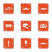 Special Hardware Icons Set. Grunge Set Of 9 Special Hardware Vector Icons For Web Isolated On White  poster