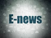 News Concept: Painted Blue Text E-news On Digital Data Paper Background With  Hand Drawn News Icons poster