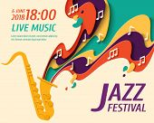 International Jazz Day - Music Paper Cut Style Poster For Jazz Festival Or Night Blues Retro Party W poster