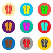 Vector Icon Logo For Set Symbols Summer Slippers Sandal Flip Flop. Slipper Pattern Consisting Of Fla poster
