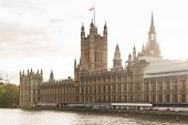 The Palace Of Westminster View By Sunset In London, Uk poster