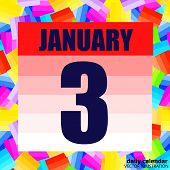 January 3 Icon. Calendar Date For Planning Important Day. Banner For Holidays And Special Days. Thir poster
