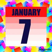 January 7 Icon. For Planning Important Day. Banner For Holidays And Special Days. Seventh Of January poster
