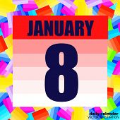 January 8 Icon. For Planning Important Day. Banner For Holidays And Special Days. January 8. Vector  poster
