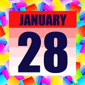 January 28 Icon. For Planning Important Day. Banner For Holidays And Special Days. January 28th. Ill poster
