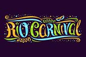 Vector Greeting Card For Rio Carnival, Decorative Ticket With Curly Calligraphic Font, Design Swirls poster