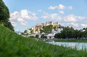 Idyllic Panoramic City Landscape Of Salzburg In Summer poster
