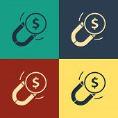 Color Magnet With Money Icon Isolated On Color Background. Concept Of Attracting Investments. Big Bu poster