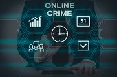 Text Sign Showing Online Crime. Conceptual Photo Crime Or Illegal Online Activity Committed On The I poster