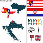 Vector Map Of Varazdin And Location On Croatian Map poster
