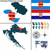 Vector Map Of Virovitica Podravina And Location On Croatian Map poster
