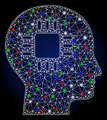 Glowing White Mesh Brain Processor With Lightspot Effect. Abstract Illuminated Model Of Brain Proces poster