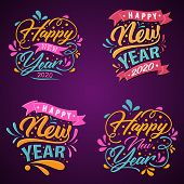 Set Of 2020 Colorful Text Isolated On Color Background, New Year 2020, 2020 Text For Calendar New Ye poster