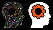 Bright Mesh Human Mind Gear Icon With Glitter Effect. Abstract Illuminated Model Of Human Mind Gear. poster