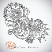stock photo of indium  - Hand draw line art ornate flower design - JPG
