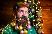 Decorated Beard. Happy Santa Man With Decorated Beard. Bearded Santa Man With Decorated Beard. Merry poster