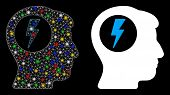 Glowing Mesh Brain Electric Shock Icon With Glow Effect. Abstract Illuminated Model Of Brain Electri poster
