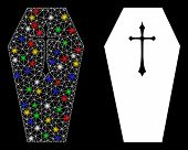 Glossy Mesh Christian Coffin Icon With Glitter Effect. Abstract Illuminated Model Of Christian Coffi poster