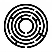 Tiny Black Circular Maze. Radial Labyrinth. Find A Route To The Centre. Print Out And Follow The Pat poster