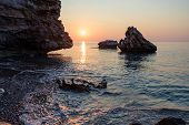 Sea Dawn On The Rocky Coast Of The Mediterranean Sea Coast In Turkey poster