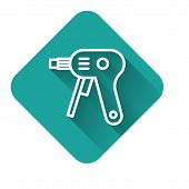 White Line Electric Hot Glue Gun Icon Isolated With Long Shadow. Hot Pistol Glue. Hot Repair Work Ap poster