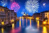 New Years firework display over Grand Canal in Venice, Italy poster