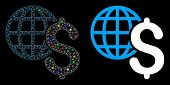 Flare Mesh Global Economics Icon With Glow Effect. Abstract Illuminated Model Of Global Economics. S poster