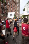 NEW YORK - JUNE 22: Hundreds of supporters march in Lower Manhattan during the 8th Annual Trans Day