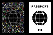 Flare Mesh World Passport Icon With Glitter Effect. Abstract Illuminated Model Of World Passport. Sh poster