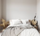 Scandinavian Bedroom Close Up, Wall Mock Up, 3d Illustration poster