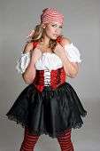 foto of wench  - beautiful young female model wearing pirate costume - JPG