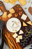 French Cheese Plate For Buffet Party. Traditional French Or Italian Entires Flat Lay. Top View poster