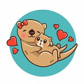 Cute Otter Cartoon., Animal Cartoon Concept.  Cute Otter Cartoon., Animal Cartoon Concept. Animal Ca poster