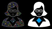 Glossy Mesh Teacher Lady Icon With Glare Effect. Abstract Illuminated Model Of Teacher Lady. Shiny W poster