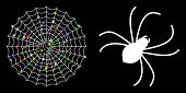 Flare Mesh Spider Net Icon With Lightspot Effect. Abstract Illuminated Model Of Spider Net. Shiny Wi poster