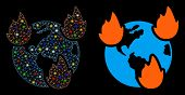 Glossy Mesh Earth Disasters Icon With Glare Effect. Abstract Illuminated Model Of Earth Disasters. S poster