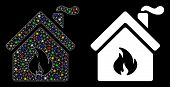 Bright Mesh Kitchen Fire Icon With Sparkle Effect. Abstract Illuminated Model Of Kitchen Fire. Shiny poster