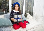 Christmas Is Just For Children. Small Girl Enjoy Saint Nicholas Day. Small Child Got Xmas Present. S poster