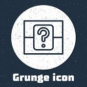 Grunge Line Mystery Box Or Random Loot Box For Games Icon Isolated On Grey Background. Question Box. poster