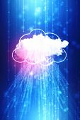 2d Illustration Of  Cloud Computing, Cloud Computing Concept, Cloud Computing Technology Internet Co poster