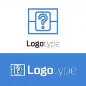 Blue Line Mystery Box Or Random Loot Box For Games Icon Isolated On White Background. Question Box.  poster