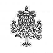Buddhism Religious Symbol, Dhvaja Flag. Buddhist Hinduism Dharma Religion, Victory Banner Vector Ske poster