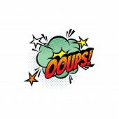 Sound Blast, Ooups Bubble Chat, Comic Book Cartoon Icon. Vector Ooups Exclamation Sound Cloud Explos poster