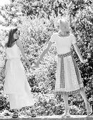 Friendly Relations. Summer Rest. Girls Friends Summer Dress Outfit Nature Background. Summer Vacatio poster