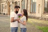 Couple Meeting For Date. Bouquet Gift. Man Giving Flower Bouquet. Romantic Date. Guy Prepared Surpri poster